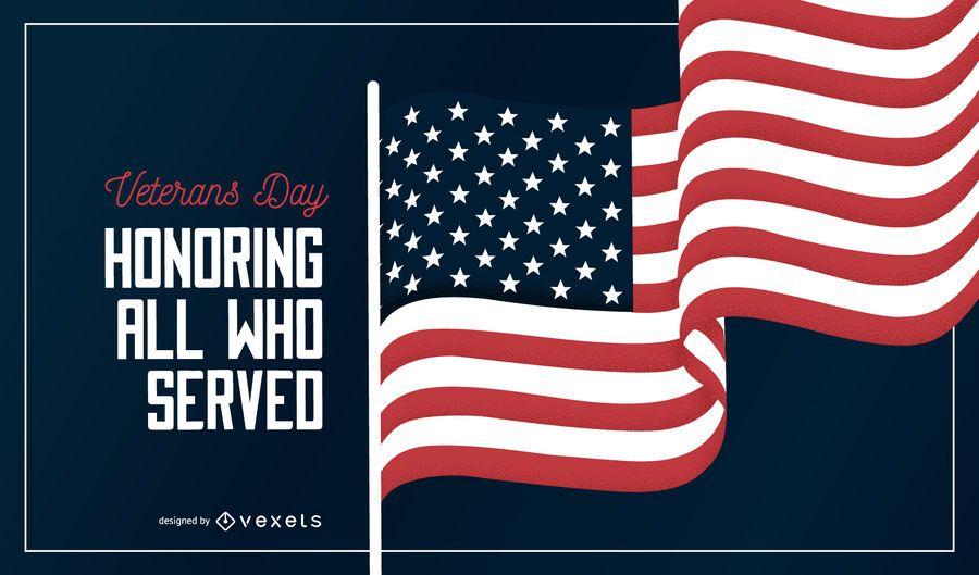 Diseño de banner de bandera del día de los veteranos