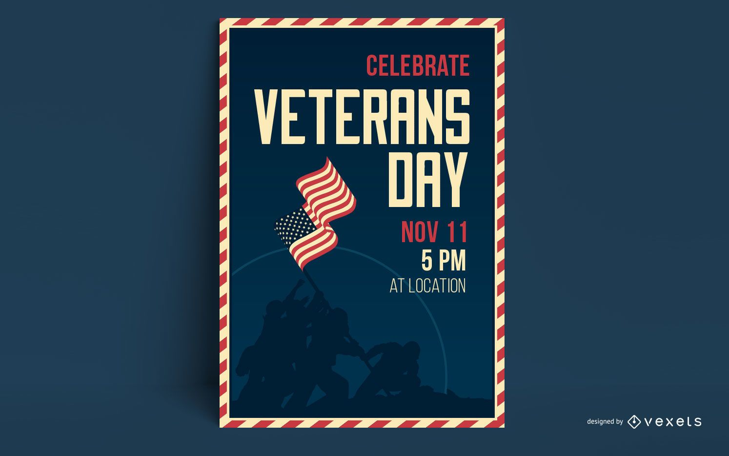 Plantilla de póster del día de los veteranos
