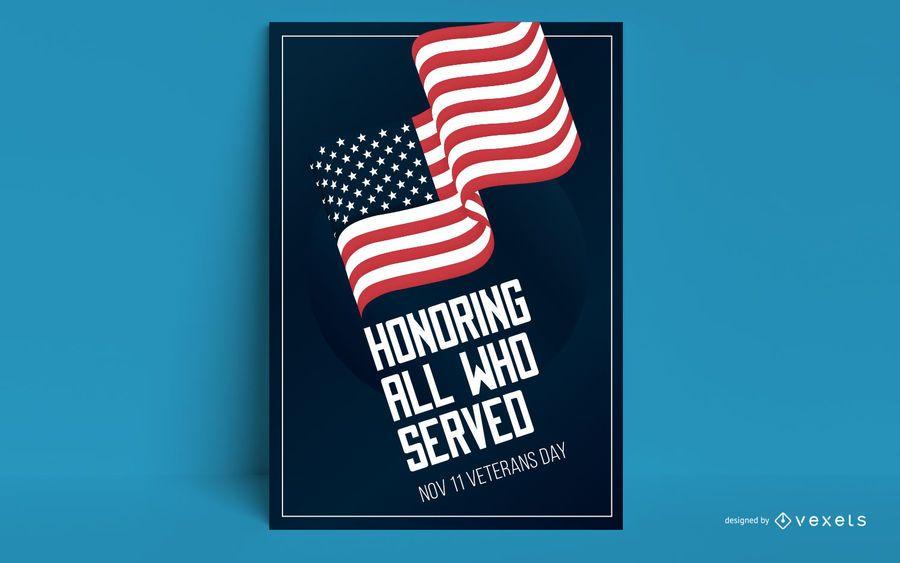 Design de cartaz de bandeira do dia dos veteranos