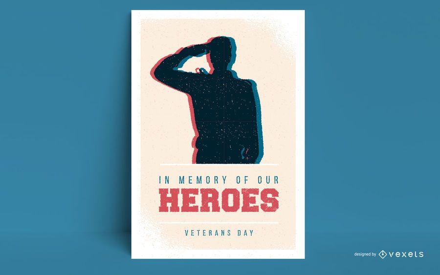 Modelo de cartaz - heróis do dia dos veteranos