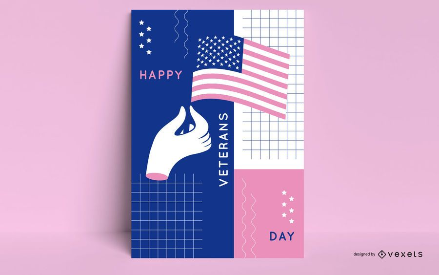 Veterans day abstract poster template