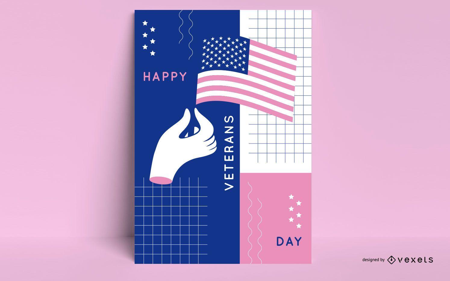 Plantilla de póster abstracto del día de los veteranos