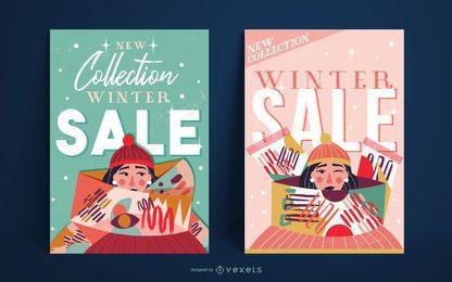 Plantilla de cartel de chica de rebajas de invierno