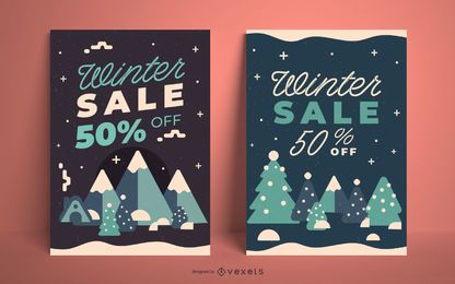 Winter sale trees poster template