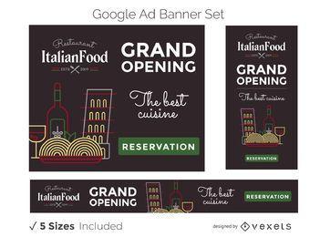 Conjunto de banners publicitarios de restaurantes italianos
