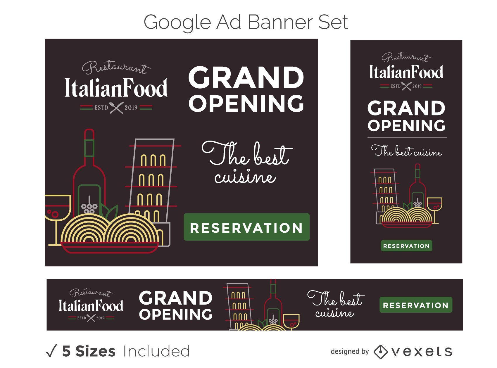 Conjunto de banner publicitario de restaurante italiano