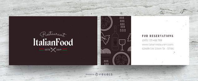 Tarjeta de visita de restaurante italiano