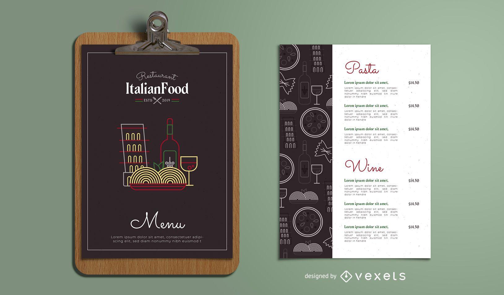 Modelo de menu de restaurante italiano