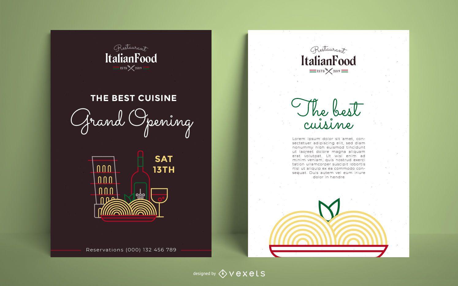 Plantilla de cartel de restaurante italiano