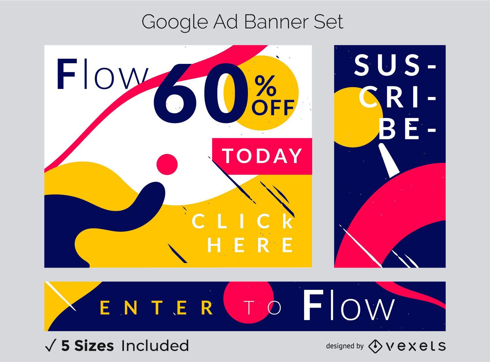 Conjunto de banner de fluxo abstrato colorido