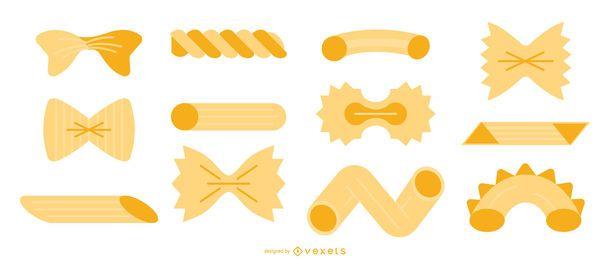 Conjunto de vector plano de pasta