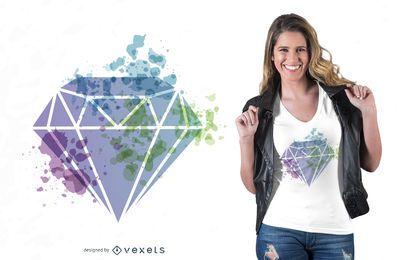 Diseño de camiseta de diamantes en acuarela