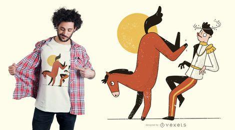 Design de t-shirt de príncipe chutando cavalo