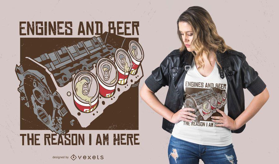 Diseño de motores y camiseta de cerveza.