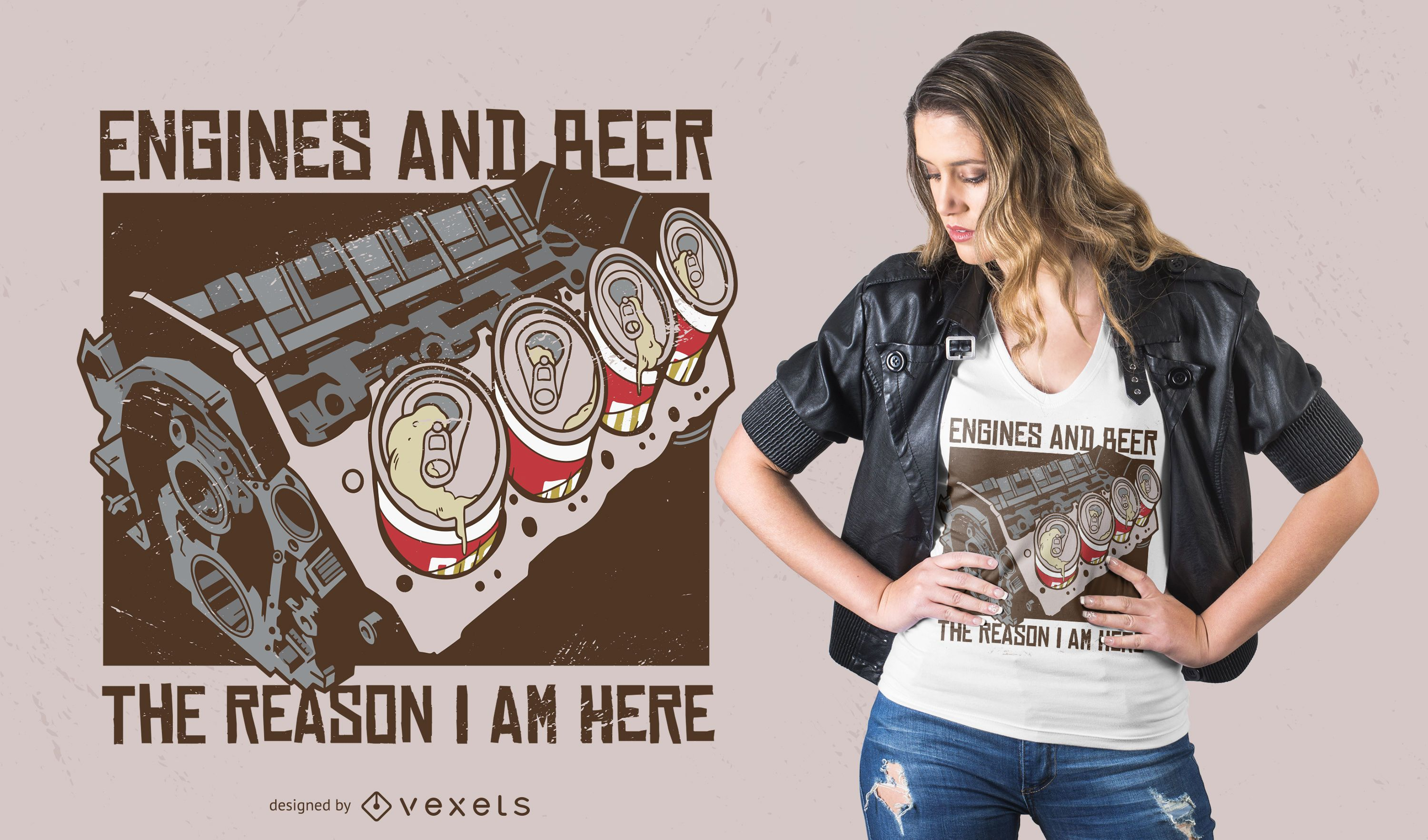 Engines and beer t-shirt design