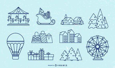 Paquete de trazos de elementos de invierno