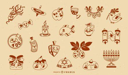 Coleção fofa de silhuetas hanukkah