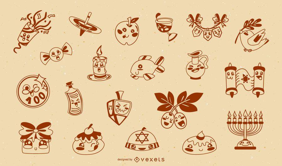 Cute hanukkah silhouette collection