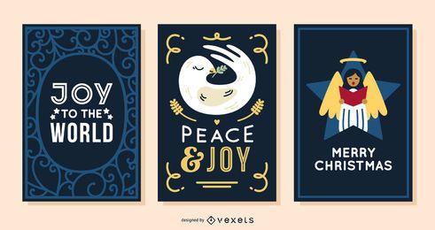 Conjunto de alegría de tarjetas de navidad
