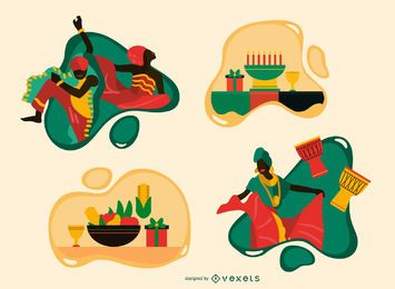 Conjunto de ilustração plana de Kwanzaa
