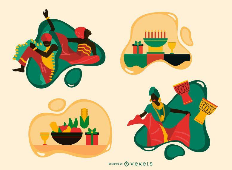 Kwanzaa flat illustration set
