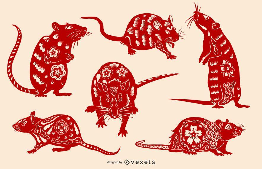Conjunto de ilustração de rato de ano novo chinês 2020