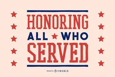 Homenaje a las letras del día de los veteranos