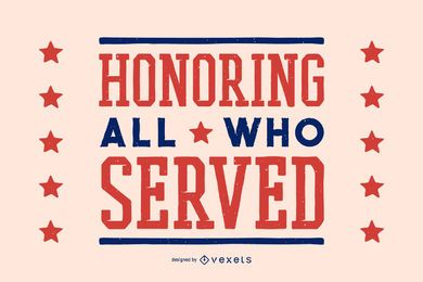 Honoring veterans day lettering