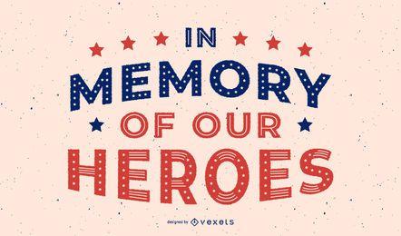 Diseño de letras de héroes del día de los veteranos