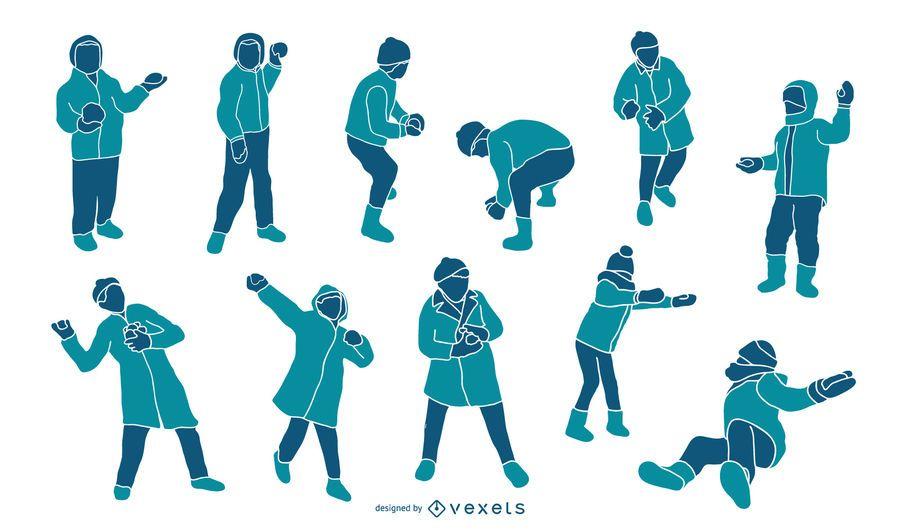 Kinder, die mit Schnee-Leute-Schattenbild-Satz spielen