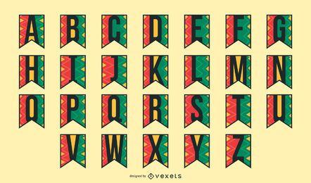 Conjunto de alfabeto guirlanda kwanzaa