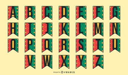 Kwanzaa Girlande Alphabet festgelegt