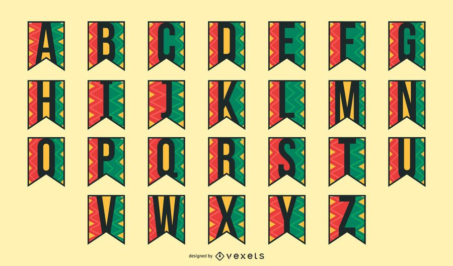 Kwanzaa garland alphabet set