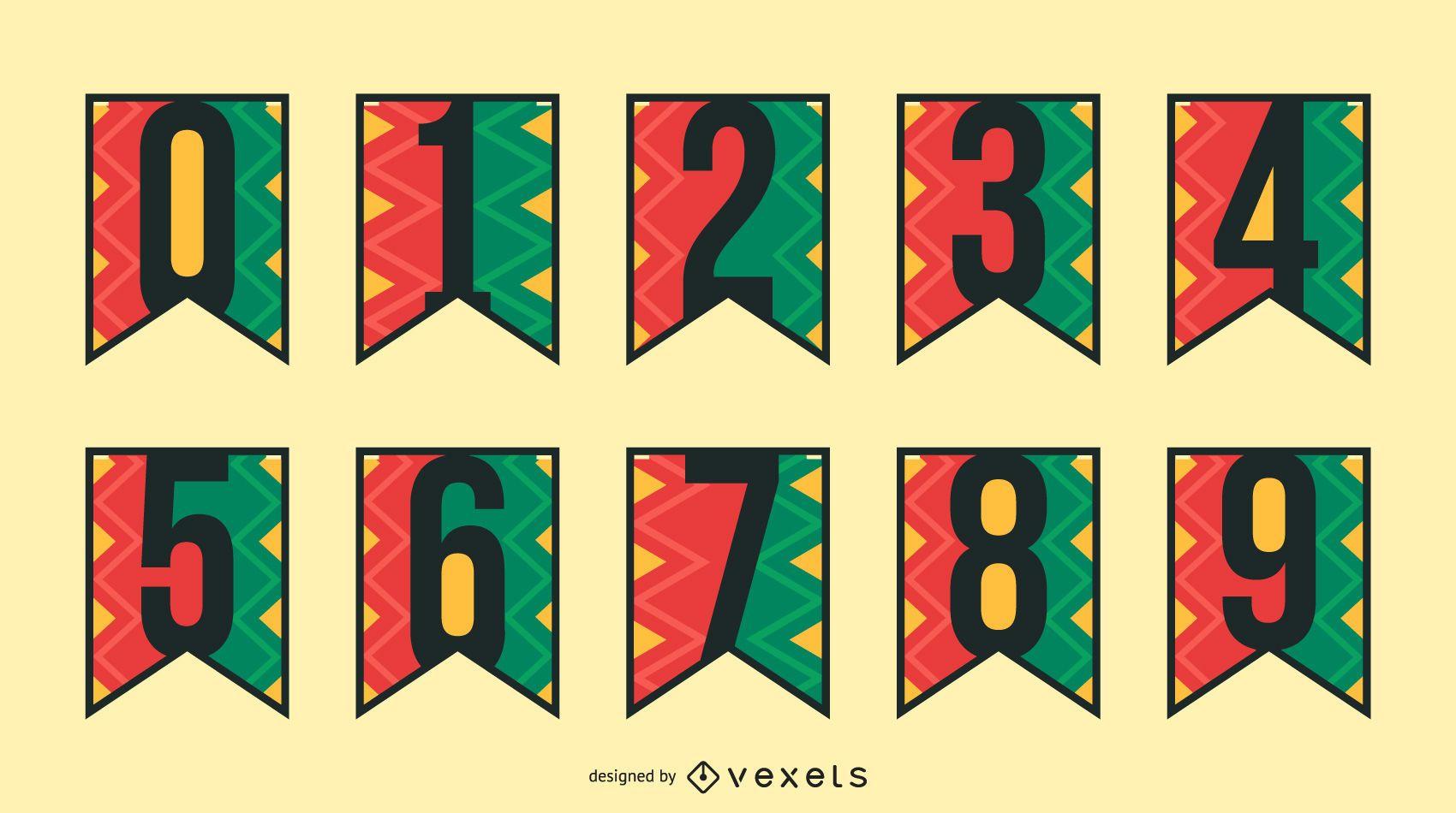 Kwanzaa garland numbers set