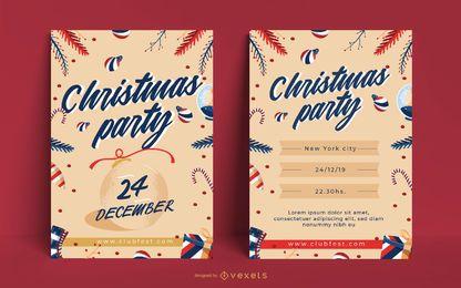Convite editável para pôster de festa de Natal