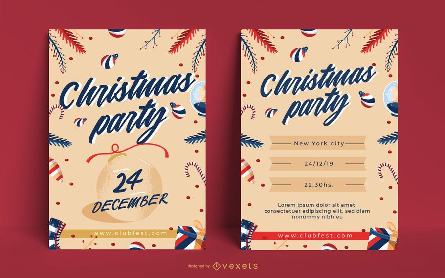 Christmas party editable poster invitation