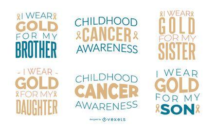 Conjunto de citas de concientización sobre cáncer infantil