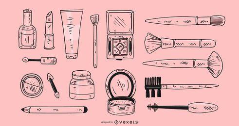 Elementos de maquillaje hechos a mano.