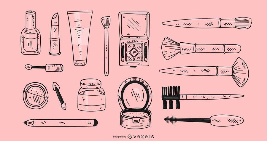 Elementos de maquillaje dibujados a mano
