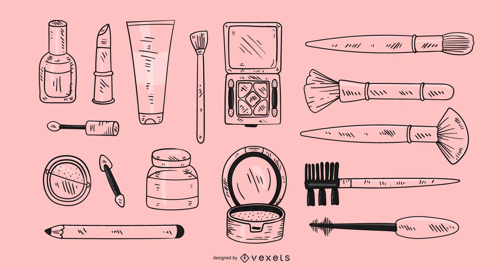 Hand drawn makeup elements