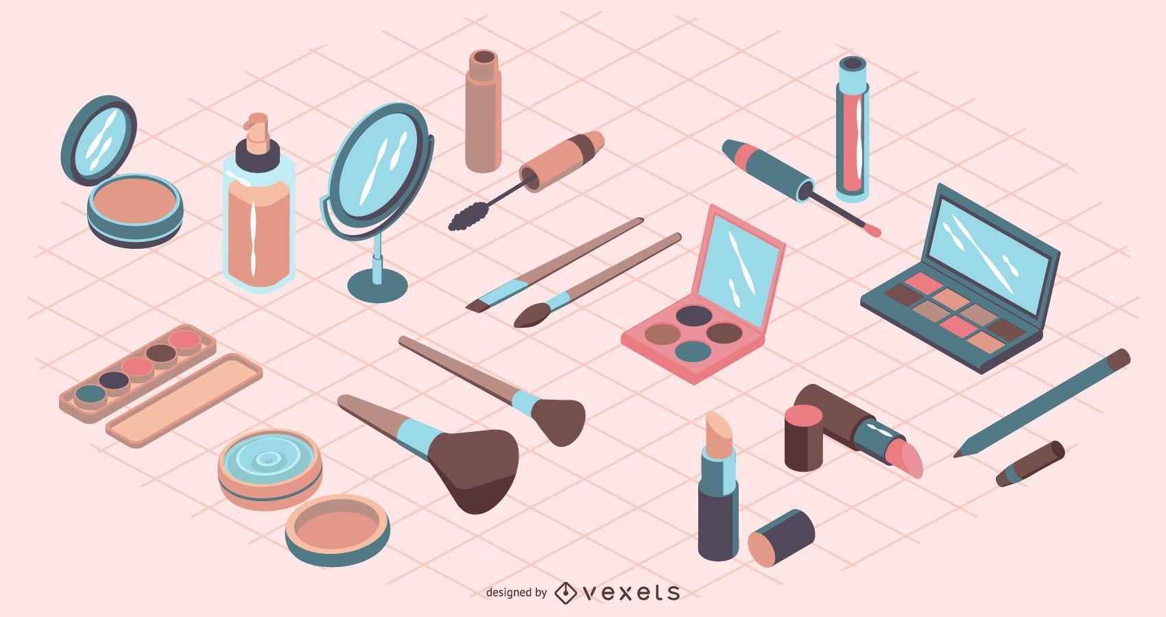 Elementos de maquillaje isométrico