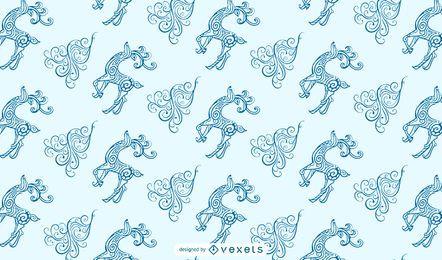 Desenho ornamental de padrão de rena