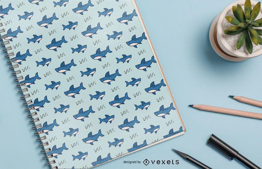 Diseño de patrón de dibujos animados de tiburones
