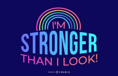 Mais forte do que eu pareço Design de citações