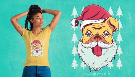 Design de t-shirt pug santa
