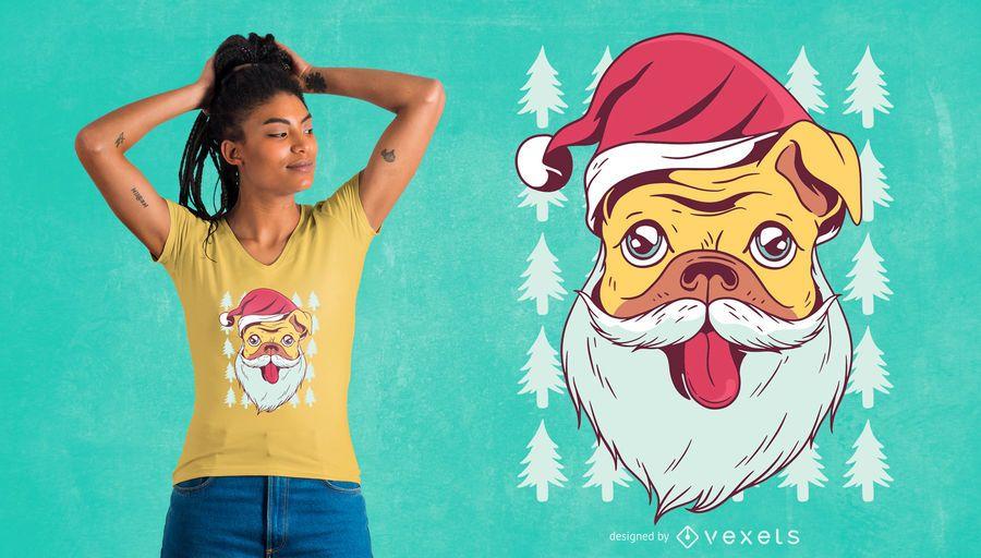 Santa pug t-shirt design