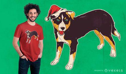 Projeto do t-shirt do Natal do cão de Appenzeller