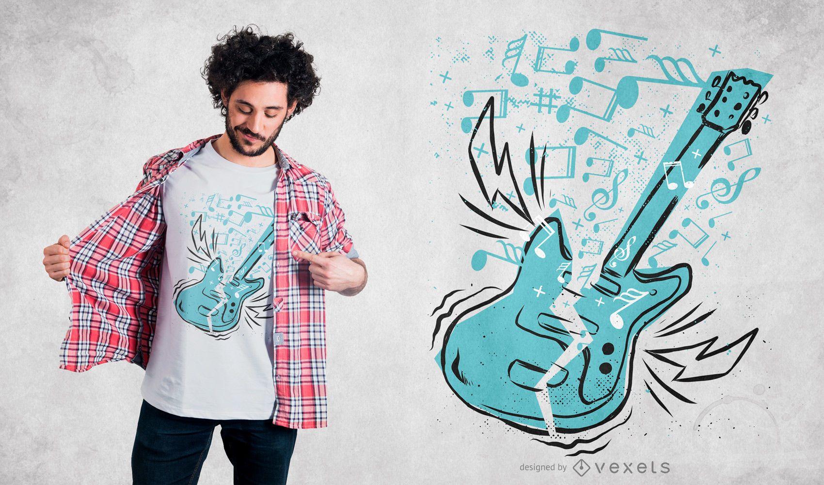 Design de camiseta para violão musical