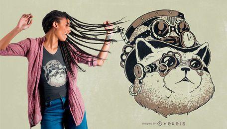 Diseño de camiseta de gato Steampunk