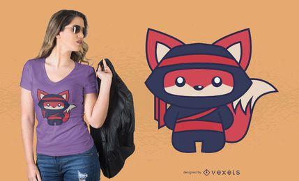 Diseño de camiseta de zorro ninja